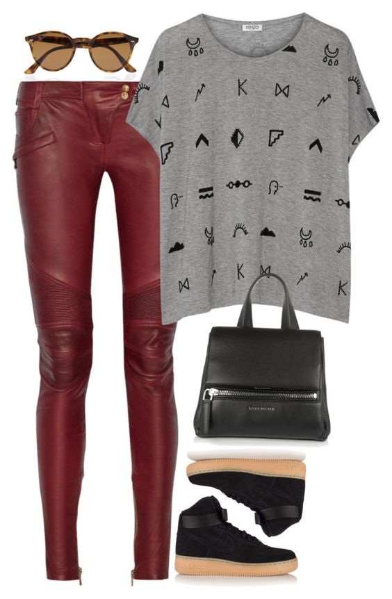 """Nike Air"" by alwayswearwhatyouwanttowear ❤ liked on Polyvore featuring Balmain, Kenzo, NIKE, Ray-Ban, Givenchy, outfit, outfits and fashionset"