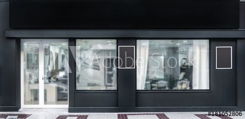 Outdoor Mock Up Store Template Front View Black Shop Facade With Windows Display Three Posters In 2021 Shop Facade Window Display Facade