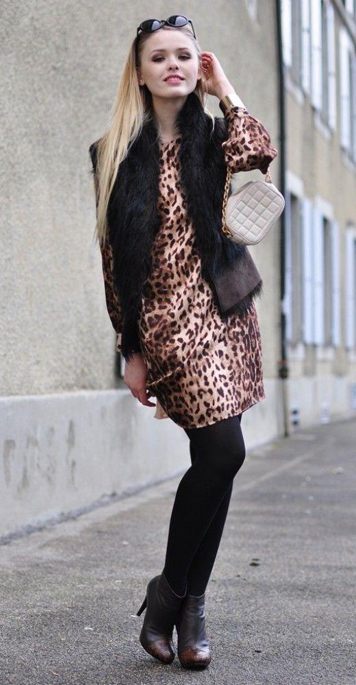 clutch with leopard print dress and fur vest