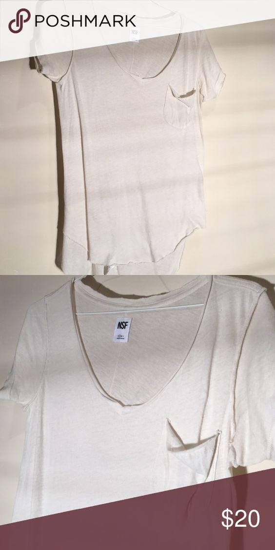Soft cotton tee Cream color, raw edge v neck tee by NSF, runs large NSF Tops Tees - Short Sleeve
