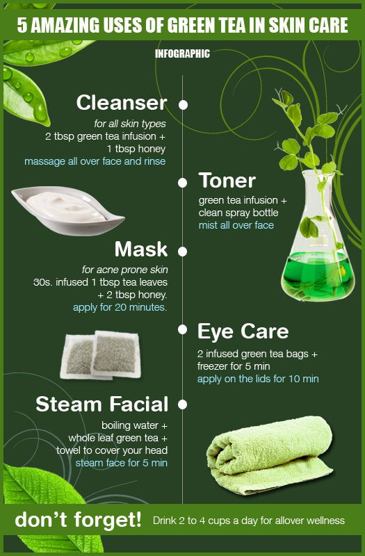 5 Amazing Uses of Green Tea in Skin Care – Not to mention that drinking it is good for your skin too! #superfood #beautytips #clearskin