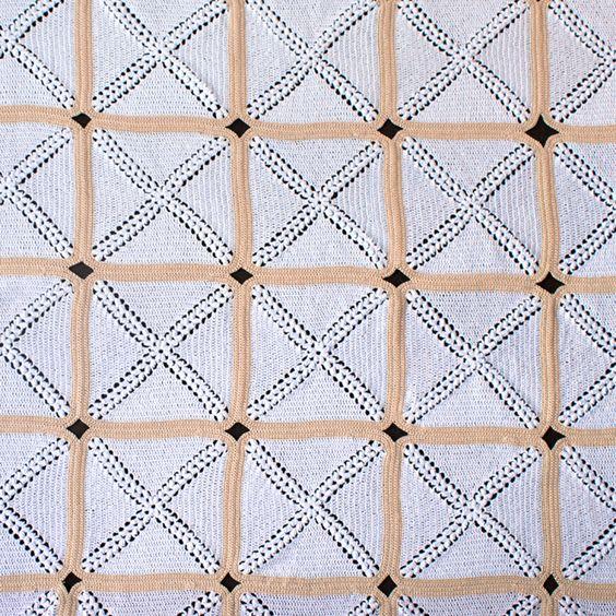 Detalle de las rosetas de la colcha de crochet