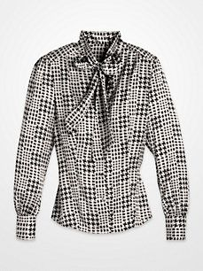 Steve Harvey Royal Blue and Black Houndstooth Tie-Neck Blouse