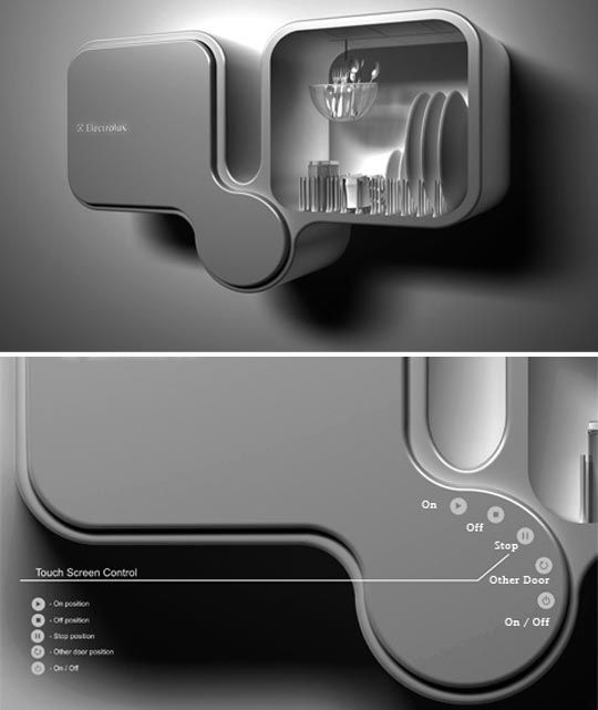 Electrolux Bifoliate Double Dishwasher concept, Who says you need to floor mount a dishwasher? That was the basis for the Electrolux Bifoliate Double Dishwasher concept, a finalist in the Design Lab 2009 contest sponsored by Electrolux.  love the space-saving options and the size of a wall mounted unit design, great for a one bedroom flat