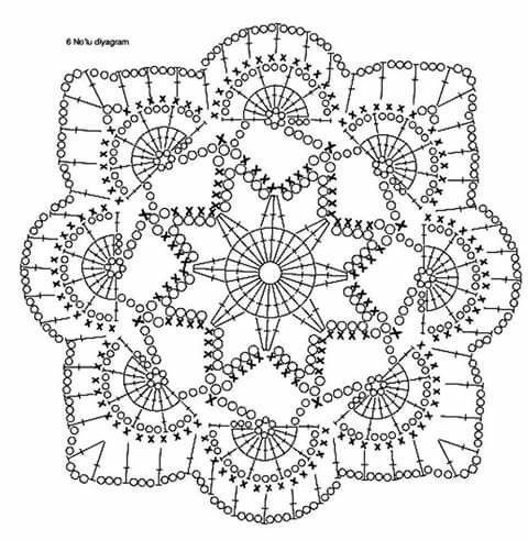 Beautiful openwork square crocheted Crochet SQUARE OPENWORK Фигурный квадрат