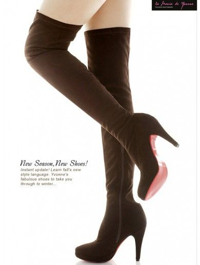New Fashion Red Bottom Shoes Women Winter Knee High Boots 11CM Heels Side Zip Vogue Round-Toe Suede 2 Color