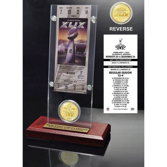 New England Patriots Super Bowl XLIX Champions Ticket & Bronze Coin Acrylic Desk Top