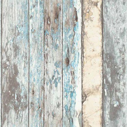 EXPOSED UTAH papel de pared con efecto láminas de madera decapadas, toque de azul para el fondo de la recepción