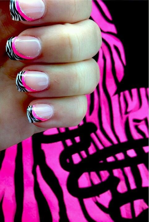 Hot Pink Zebra Nails