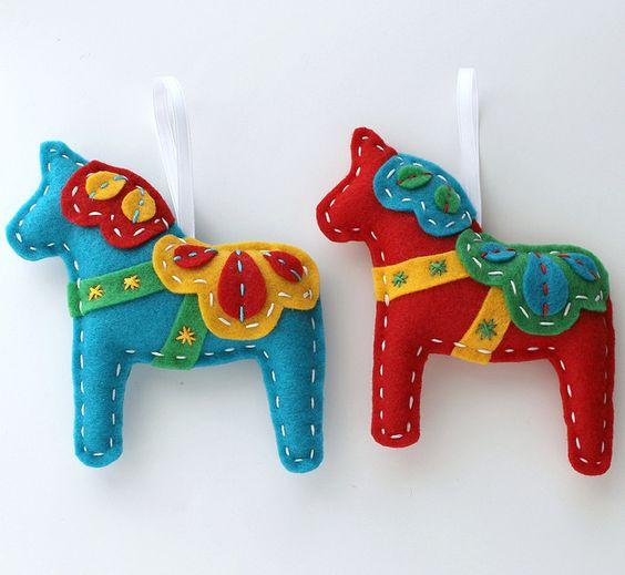 Eco Felt Dala Horse Christmas Ornaments