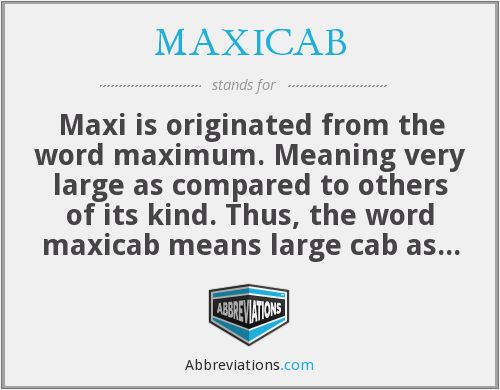 Maxi Cab Meaning