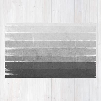 Brushstroke - Ombre Grey, Charcoal, minimal, Monochrome, black and white, trendy, painterly art Rug by CharlotteWinter | Society6