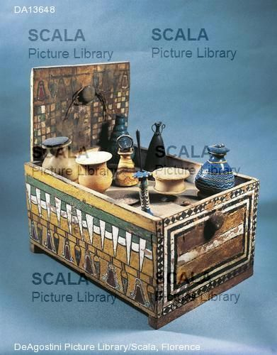 ancient egypt cosmetic box | Meryt's/(Merit's) Cosmetic box,view showing folding door.