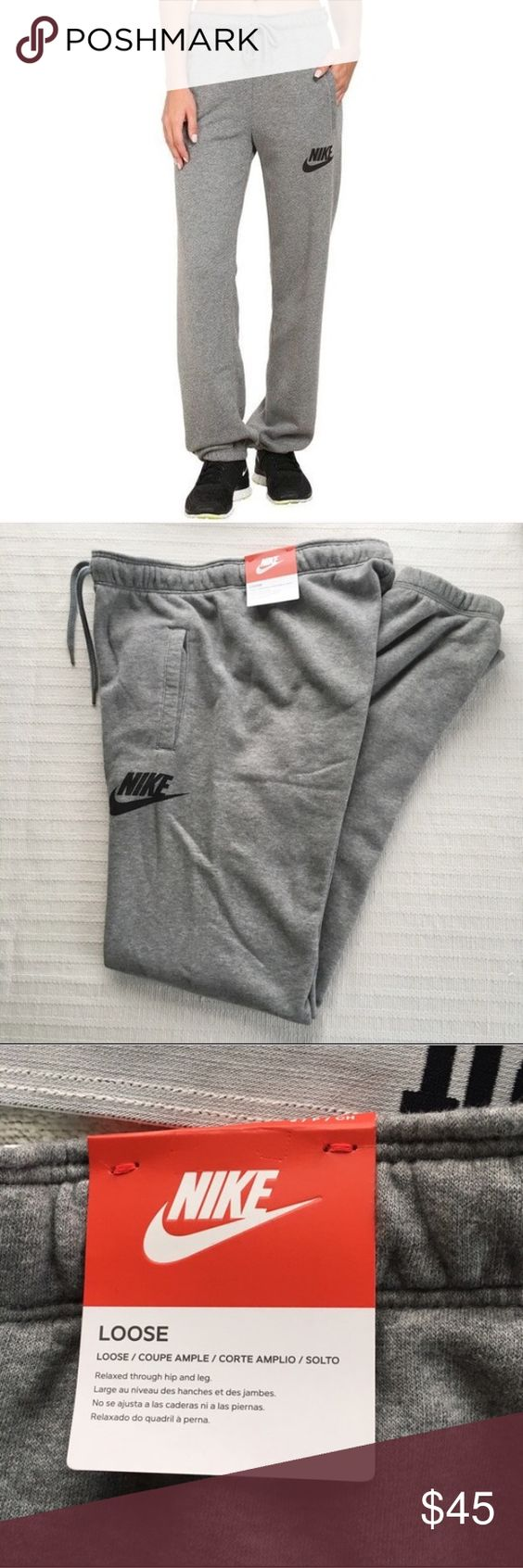 Women's Nike Rally Loose Sweatpants Gray Women's Nike Rally Loose Sweatpants Gray Style/Color: 545755-091  • Women's size Medium  • NEW with tags • No trades •100% authentic Nike Pants Track Pants & Joggers