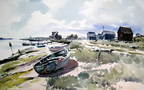 #Doodlewash - Plein Air Watercolor Painting by Jem Bowden of boats and sea at Walberswick, Suffolk #WorldWatercolorGroup