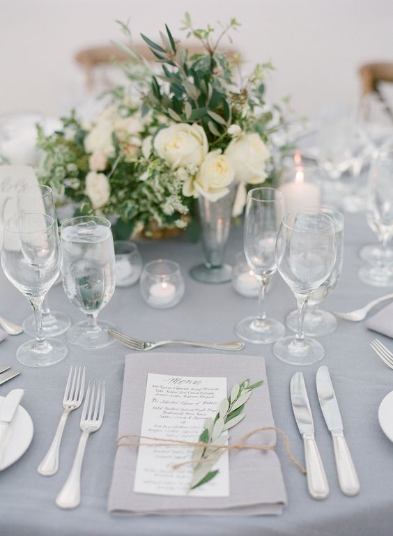 white and grey wedding table decor / http://www.deerpearlflowers.com/grey-fall-wedding-ideas/: