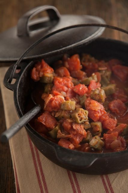 paula deen's okra and tomatoes. I think I found her one and only recipe that doesn't require an entire stick of butter.
