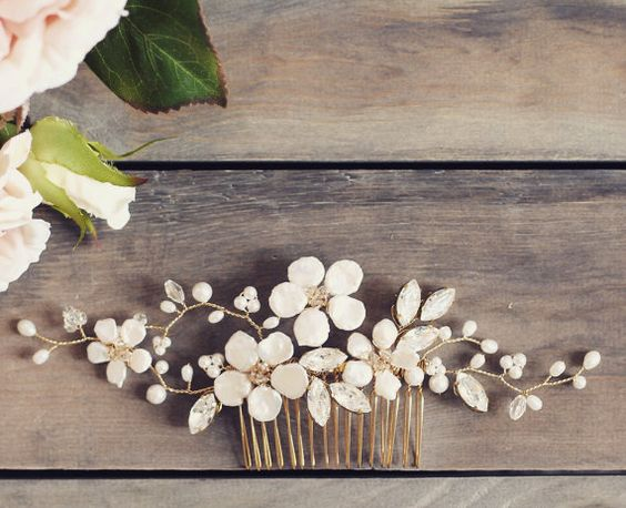 Bridal hair comb gold comb floral hair comb by JoannaReedBridal