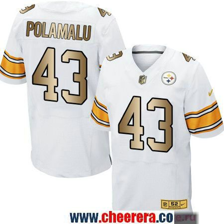 Men's Pittsburgh Steelers #43 Troy Polamalu White With Gold Stitched NFL Nike Elite Jersey