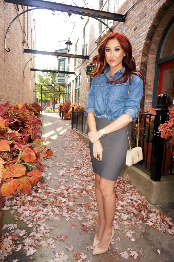 love this dressed up denim look by Jaclyn Hill!