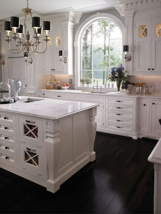 Love The White Interior Design With The Black Flooring And Fixtures Interior Design Kitchen Kitchen Interior Kitchen Design
