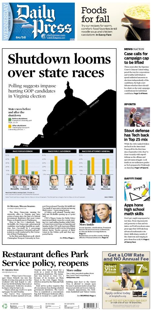 Daily Press front page for Wednesday, Oct. 9, 2013. (Newseum Top Ten Front Page.)