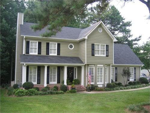 Building Exterior Sage Siding Farmhouse : Green siding house and houses on pinterest