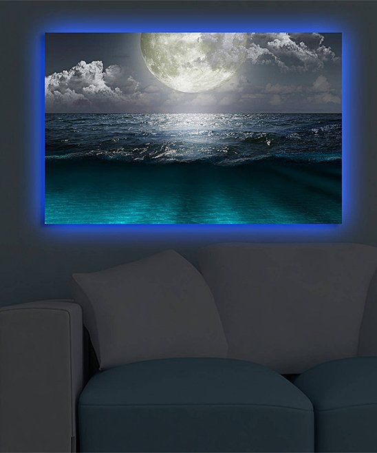 Take A Look At This Ocean Moon At Night Led Canvas Wall Art Today Canvas Wall Art Wall Art Beach Scenery