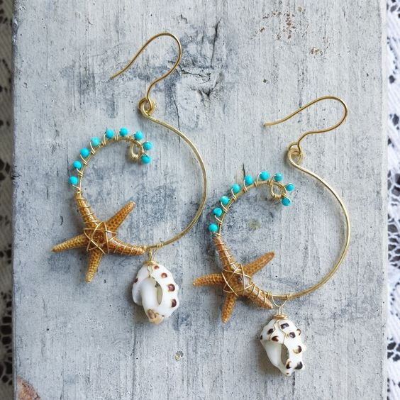 """Earrings """"Turquoise Daydream"""" Turquoise Gemstone, Real Starfishes, Drupe Shells, Beach, Ocean Inspired Jewelry Made with Aloha in Hawaii by SALTYturquoise on Etsy https://www.etsy.com/listing/227203433/earrings-turquoise-daydream-turquoise"""