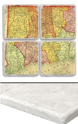 """Connecticut Map Coaster Set    An impressive collection of marble coasters featuring a beautifully colored map of Connecticut.   Each Connecticut coaster measures 4"""" x 4"""", and is constructed of high quality, Botticino tumbled marble.  A perfect gift for weddings, anniversaries, business gifts and any other special event in your life.  Best of all, these Connecticut coasters are artfully constructed in the USA!     Botticino Tumbled Marble  Each Tile Measures 4""""x4"""""""
