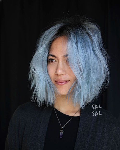 35 Stunning Balayage Hairstyles For Short Hair Looks In 2020 Light Blue Hair Short Blue Hair Hair Styles