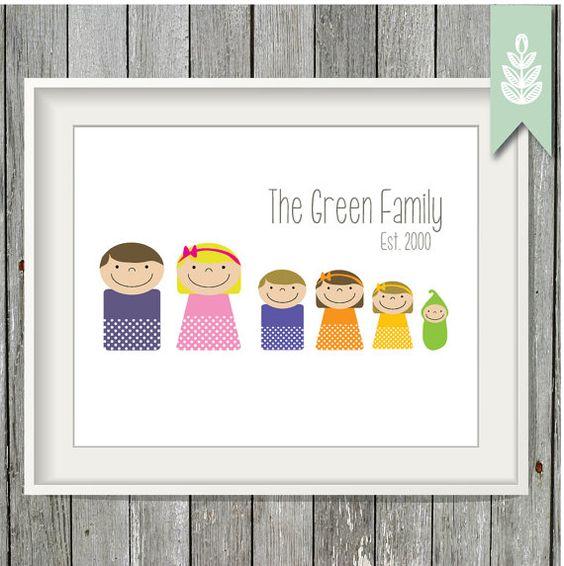 8 x 10 Printable Family Art Print - Custom PDF, Printable, Family Print, Personalized Family Print