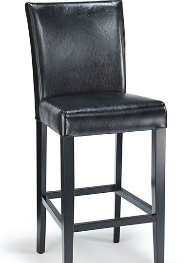 Deule Kitchen Bar Wooden Stool Black Real Leather Seat, Black Frame