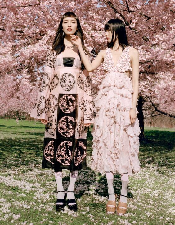 "Fei Fei Sun and Xiao Wen Ju wear Alexander McQueen Spring/Summer 2015 in ""May Flower"" for Vogue MET Gala 2015 Special Edition. Photographed by Colin Dodgson."