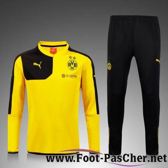 Nouveau Survetement De Foot Dortmund BVB Enfant Kit Jaune 15 2016 2017 Pas Chere