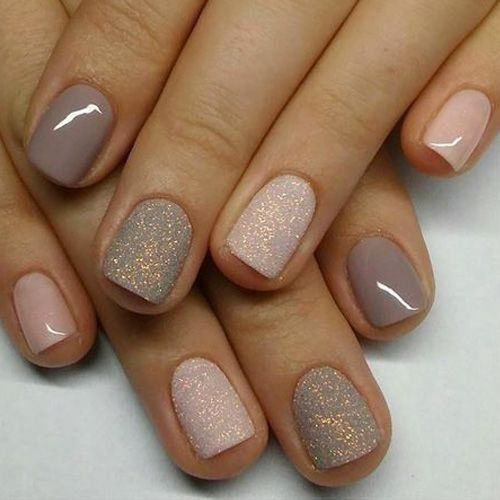 Mauve and silver nail art design 1