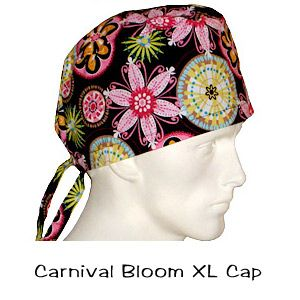 Surgical Scrub XL Caps Carnival Bloom 100% cotton made in the USA