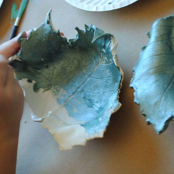 Metallic Clay Leaf Bowls