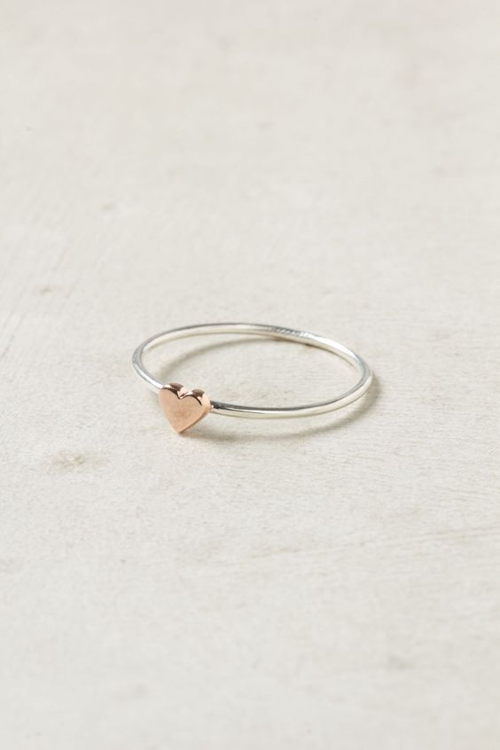 Wee Heart Ring, Rose Gold. So sweet! (via Anthropologie). I LOVE THIS RING SOOO MUCH. and that's crazy. bc my name is erin.
