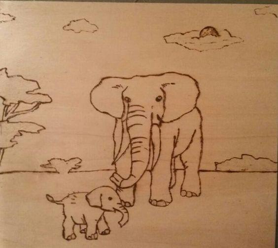 Brandmalerei Elefanten, elephants