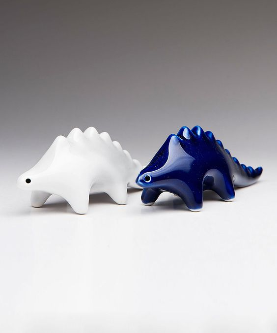 Another great find on #zulily! Cobalt & White Stoneware Dino Salt & Pepper Shakers by Mai Style #zulilyfinds