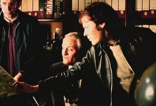 Charles Gray with director Jim Sharman, looking at The Criminologist's map.