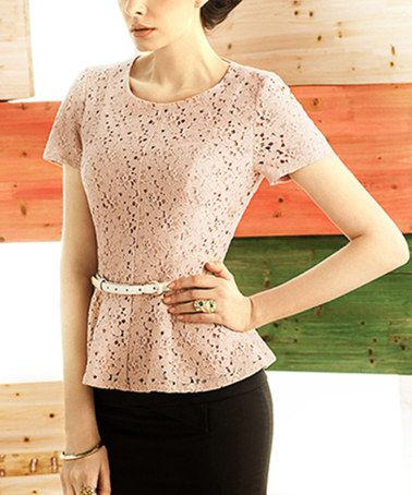 Look what I found on #zulily! Bare Pink Lace Peplum Top #zulilyfinds
