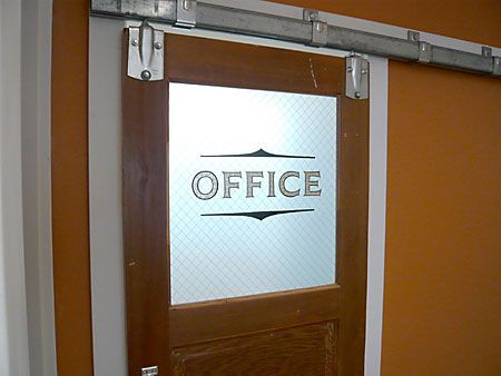Office door hanging on barn rail dad this is what i 39 m for Office doors with windows
