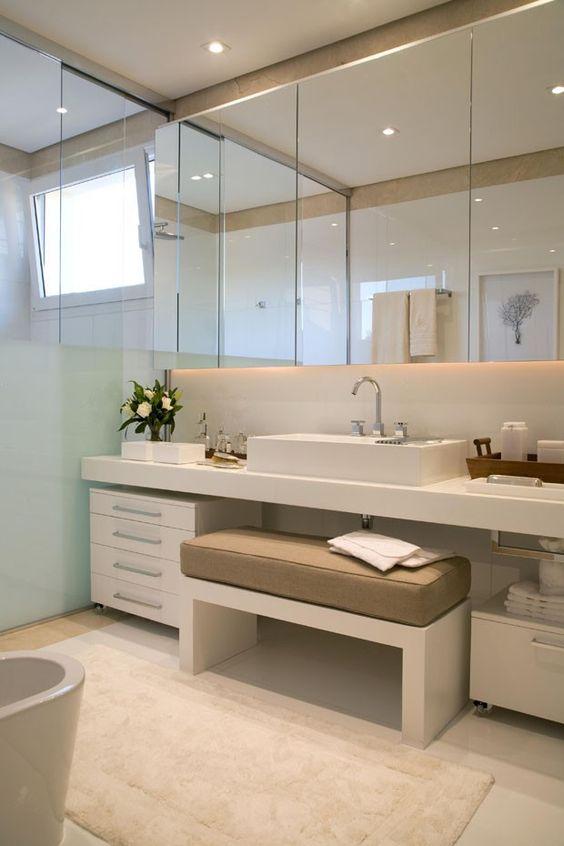 Armário de banheiro com portas de espelho #assimeugosto #banheiro #bathroom  -> Armario De Banheiro Com Espelho Casas Bahia