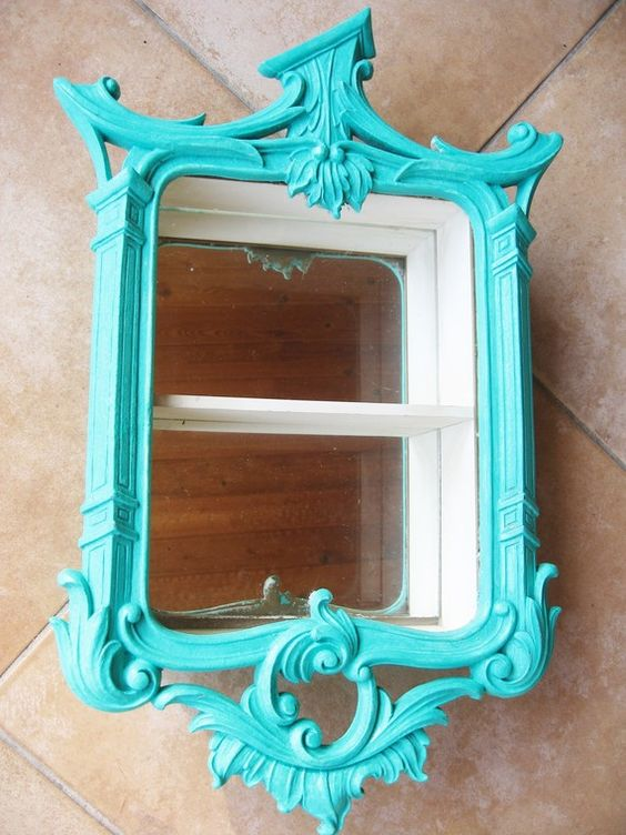 regency #turquoise mirrored #curio #cabinet