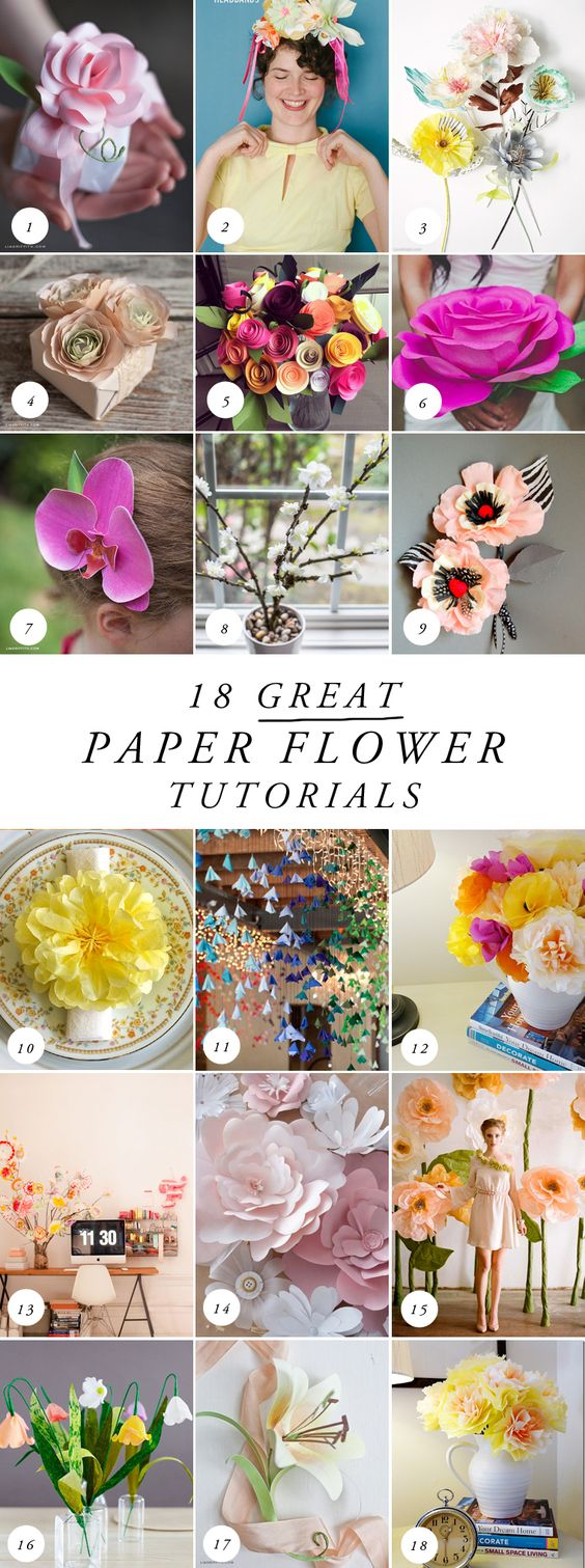 18 Great Paper Flower Tutorials by The House That Lars Built on the Laura Ashley…: