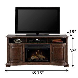 <3 Henderson Distressed Cherry Electric Fireplace Entertainment Center w/Logs ~ Dimensions <3