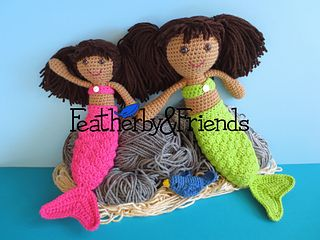 Mollie & Mia - Little & Big Sister Dolls in Mermaid Costumes - Crochet Pattern by Alicia Moore of Featherby & Friends