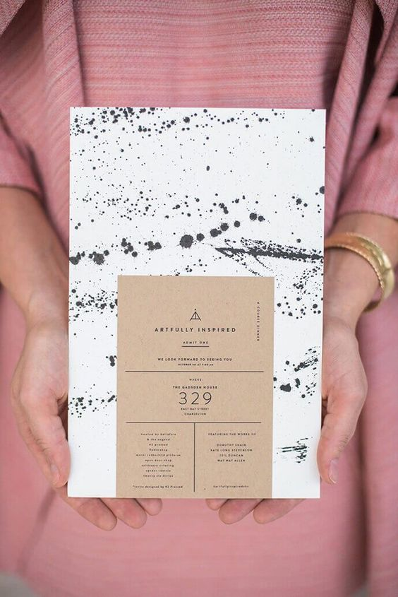 Beautiful black and white (and some brown) design inspiration for invitation or business cards